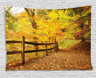 Fall Trees Leaf Road Wide Tapestry