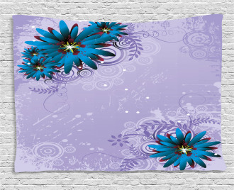 Graphic Ornament Flowers Wide Tapestry
