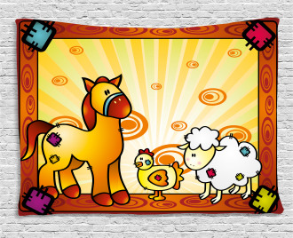Zoo Animal Horse Sheep Wide Tapestry