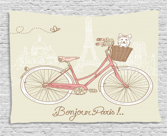Postcard from Paris Bicycle Wide Tapestry