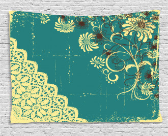 Retro Flora Lace Frame Wide Tapestry