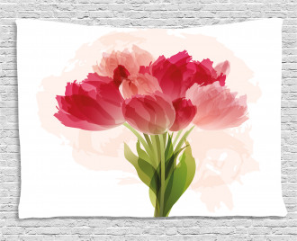 Watercolor Tulip Bouquet Wide Tapestry
