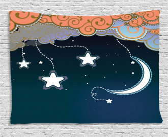 Clouds Stars and Moon Wide Tapestry