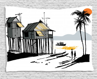 Fishing Village Malay Wide Tapestry