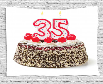 Age Thirty Five Cake Wide Tapestry