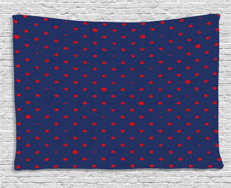 Dots Star Figures Artsy Wide Tapestry