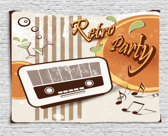 Party Art with Old Radio Wide Tapestry