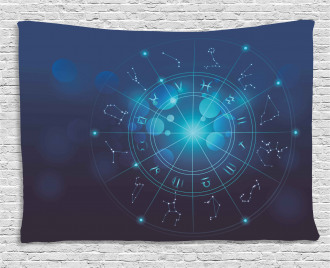Zodiac Signs in Space Wide Tapestry