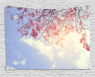Pink Flowers Sunny Morning Wide Tapestry