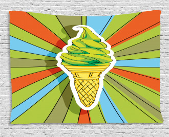 Ice Cream on a Cone Wide Tapestry