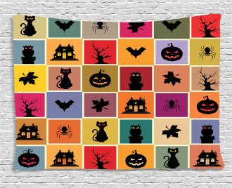 Bats Cats Owls Wide Tapestry