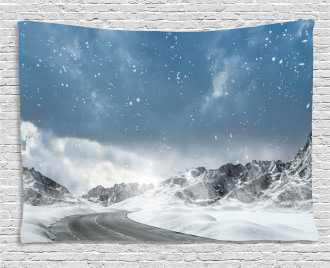 Mountains Snowy Road Wide Tapestry
