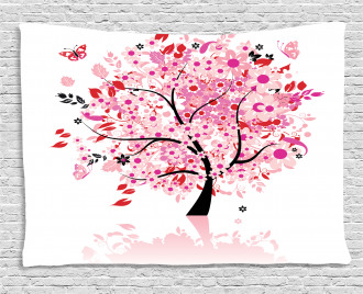 Abstract Tree and Flowers Wide Tapestry