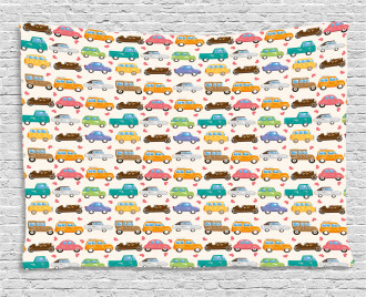 Vintage Cars Little Hearts Wide Tapestry