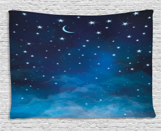 Night Time with Moon Star Wide Tapestry