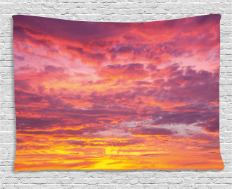 Sunset Clouded Weather Wide Tapestry