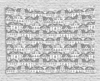 Houses and Trees Pattern Wide Tapestry