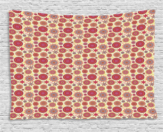 Abstract Blossoms Dots Wide Tapestry