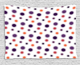 Round Simple Flowers Wide Tapestry