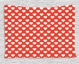 White Hearts Love Wide Tapestry