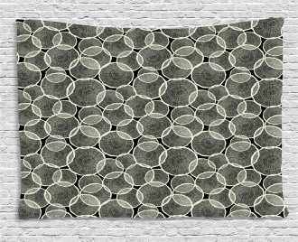 Monochrome Trunk Circles Wide Tapestry