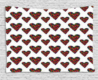 Colorful Dots Hearts Wide Tapestry