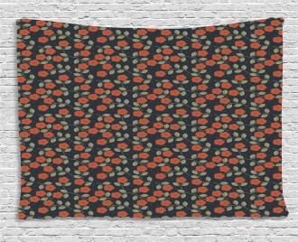 Flower Dark Toned Dots Wide Tapestry
