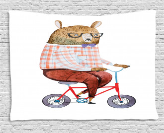 Urban Bear on Bicycle Wide Tapestry