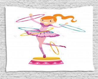 Girl Twirling Hoops Wide Tapestry