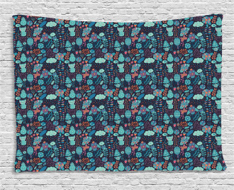 Rainy Clouds and Owls Wide Tapestry