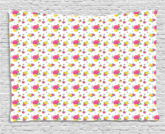 Multi Petal Rose and Bud Wide Tapestry