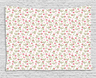Top View Roses and Buds Wide Tapestry