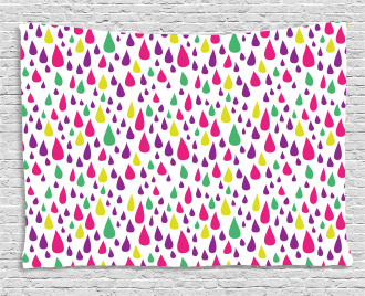 Multicolor Raindrops Wide Tapestry