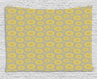 Doodle Yellow Petals Wide Tapestry