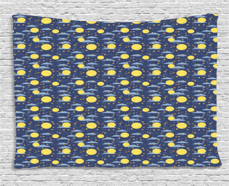 Smiling Moons Sleep Time Wide Tapestry