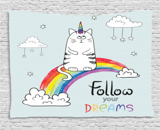 Follow Your Dreams Rainbow Wide Tapestry