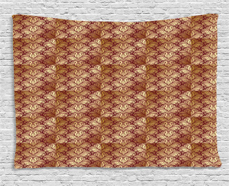 Stylized Curvy Leaves Wide Tapestry