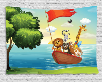 Animals Ark on Shore Wide Tapestry