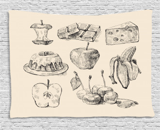Hand-Drawn Sketch Meals Wide Tapestry
