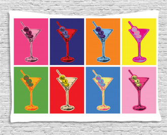 Colorful Martini Glass Wide Tapestry