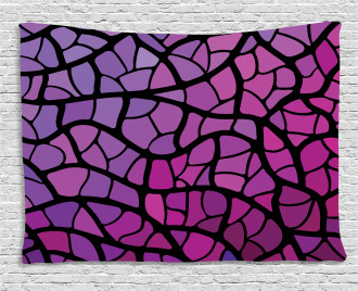 Graphic Stained Glass Wide Tapestry