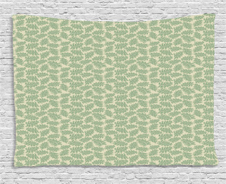 Exotic Foliage on Beige Color Wide Tapestry