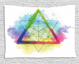 Rainbow Triangles Wide Tapestry