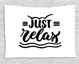 Calligraphic Just Relax Text Wide Tapestry
