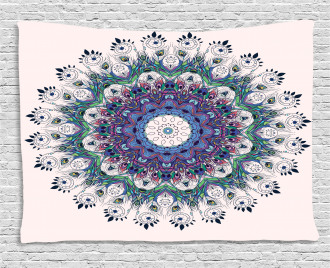 Colorful Art Peacock Wide Tapestry