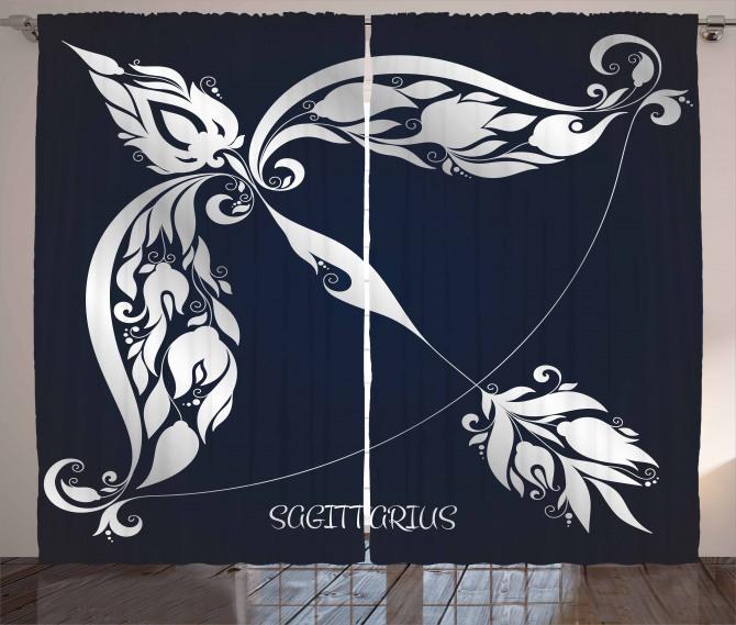 Planetary Curtain Astrology Zodiac Sign Print 2 Panel Window Drapes