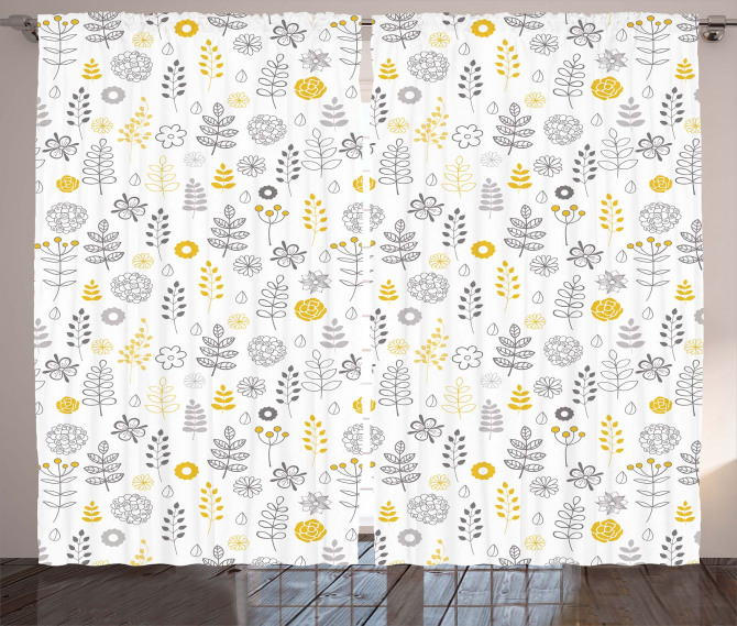 Wild Forest Leaf Flowers Curtain