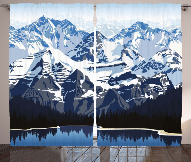 Mountain with Snow View Curtain