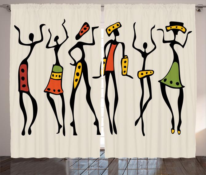 African Clan Dancer Ethnic Curtain