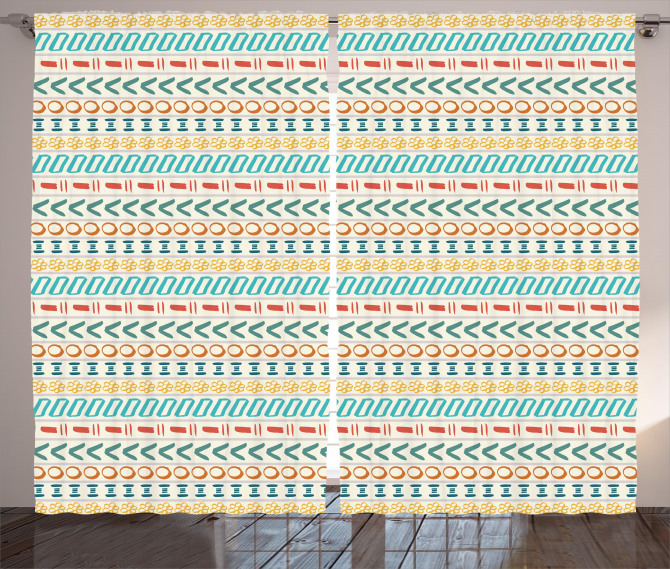 Boho Striped Motif Art Curtain